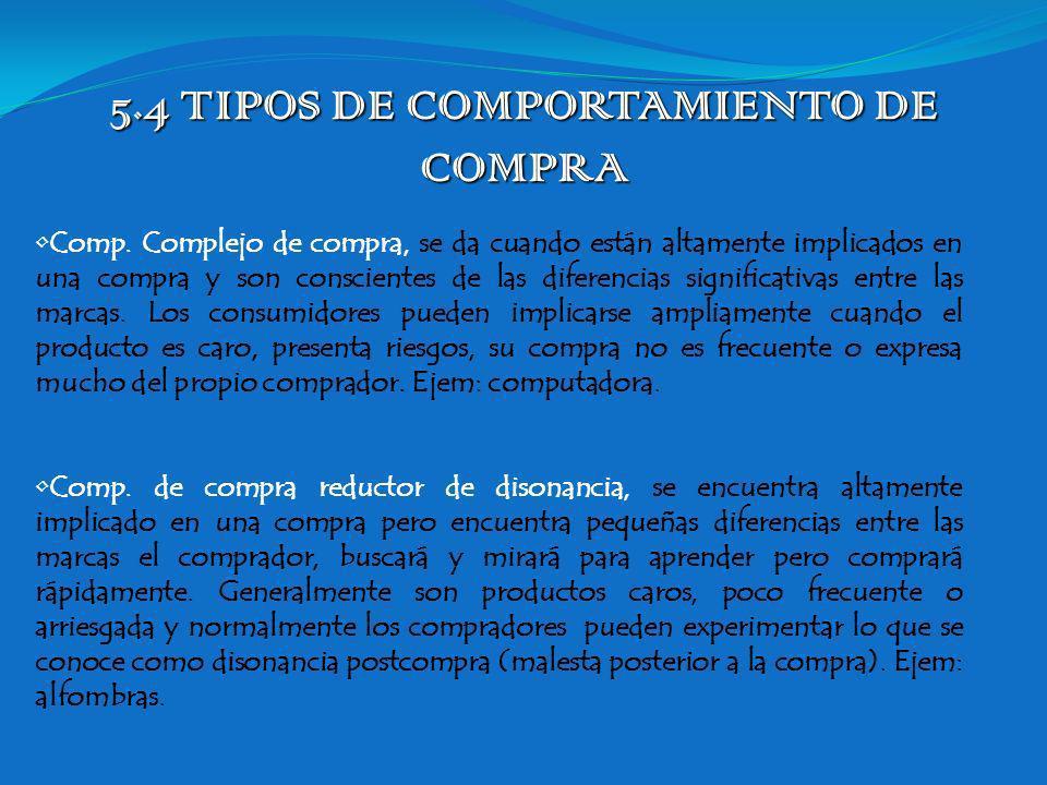 5.4 TIPOS DE COMPORTAMIENTO DE COMPRA