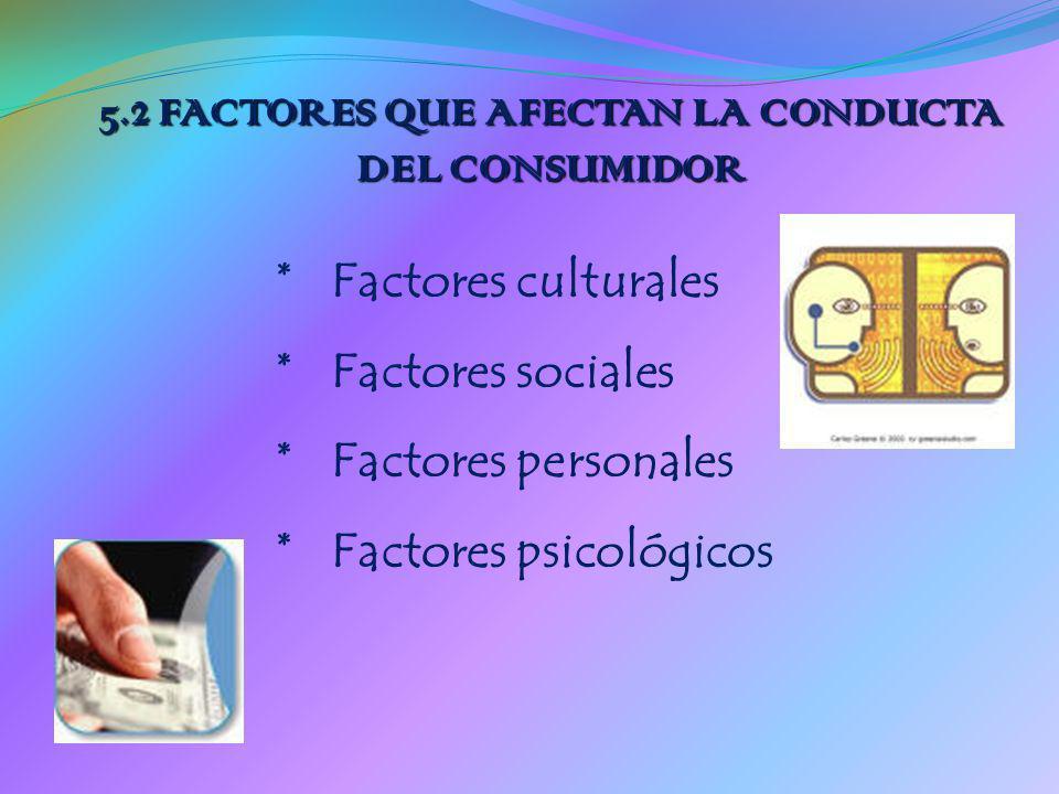 5.2 FACTORES QUE AFECTAN LA CONDUCTA DEL CONSUMIDOR