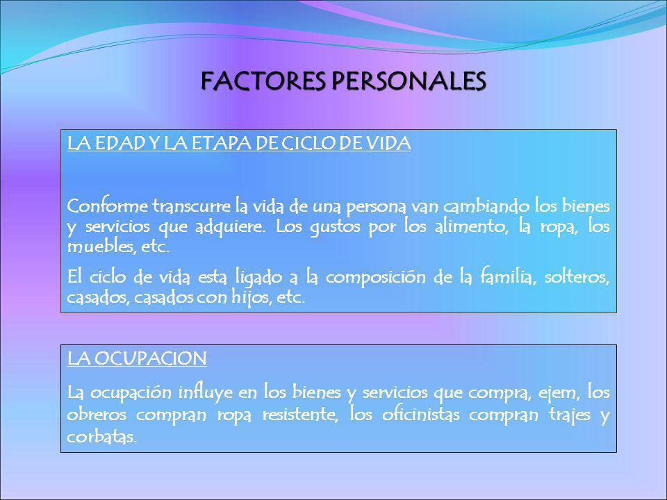 FACTORES PERSONALES LA EDAD Y LA ETAPA DE CICLO DE VIDA