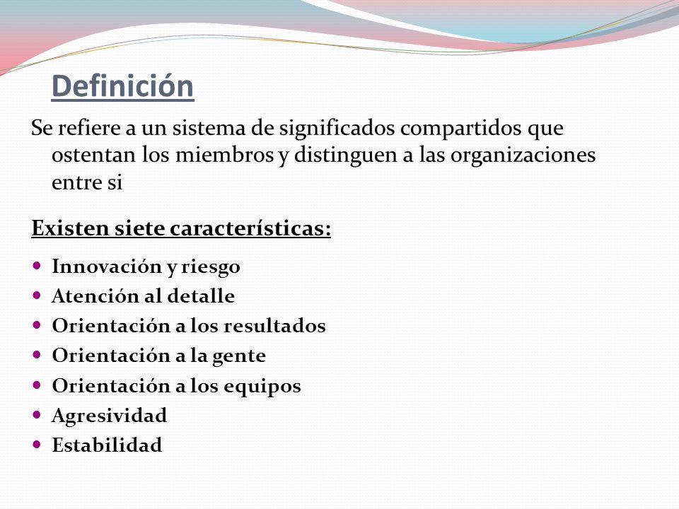 Definición Se refiere a un sistema de significados compartidos que ostentan los miembros y distinguen a las organizaciones entre si.