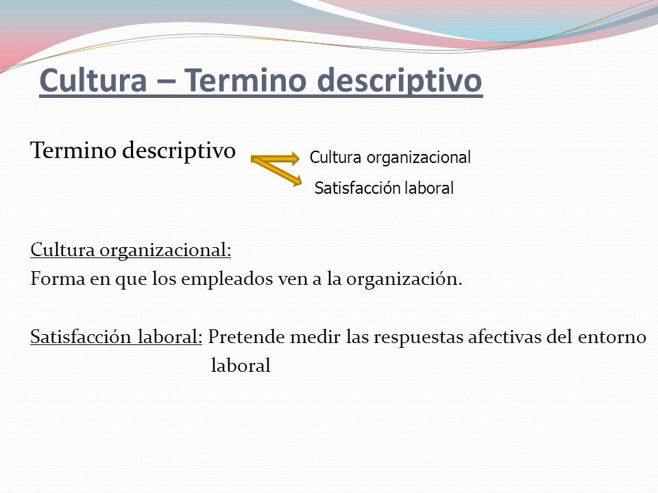 Cultura – Termino descriptivo