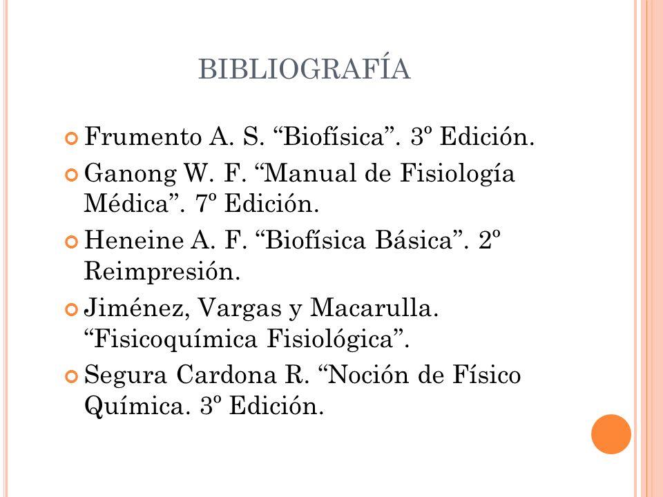 BIBLIOGRAFÍA Frumento A. S. Biofísica . 3º Edición.