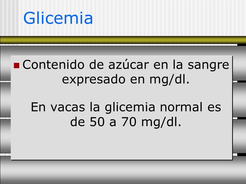 Glicemia Contenido de azúcar en la sangre expresado en mg/dl.