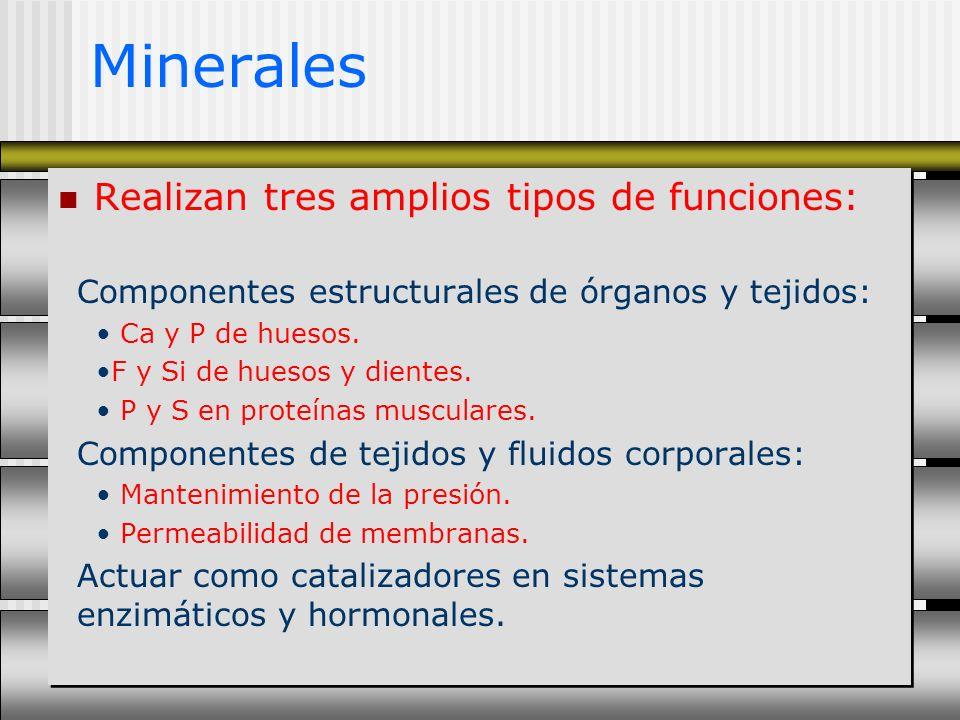 Minerales Realizan tres amplios tipos de funciones: