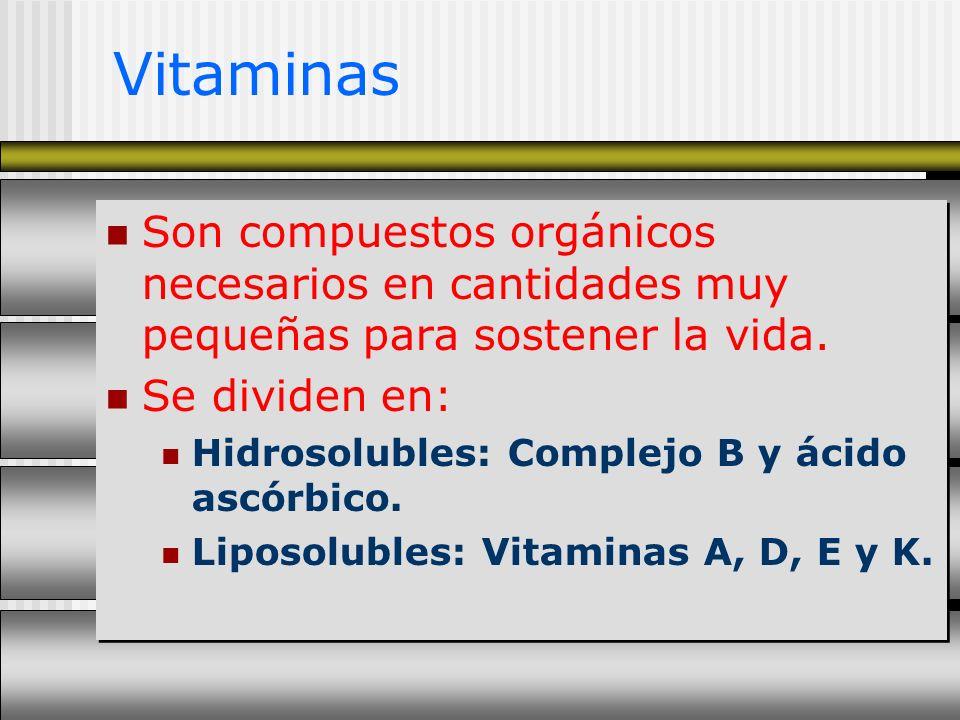 Vitaminas Son compuestos orgánicos necesarios en cantidades muy pequeñas para sostener la vida. Se dividen en: