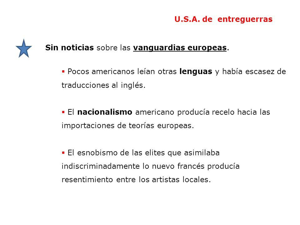 U.S.A. de entreguerras Sin noticias sobre las vanguardias europeas. Pocos americanos leían otras lenguas y había escasez de traducciones al inglés.