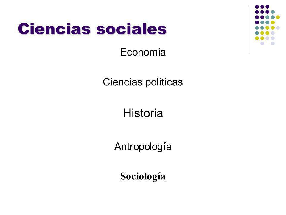 Ciencias sociales Historia Economía Ciencias políticas Antropología