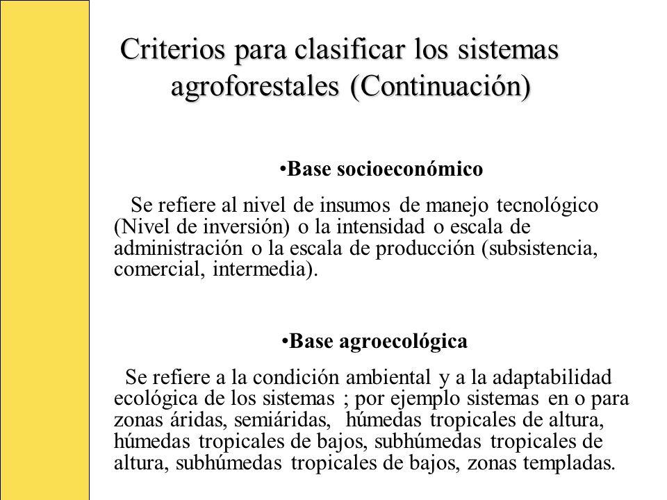 Criterios para clasificar los sistemas agroforestales (Continuación)