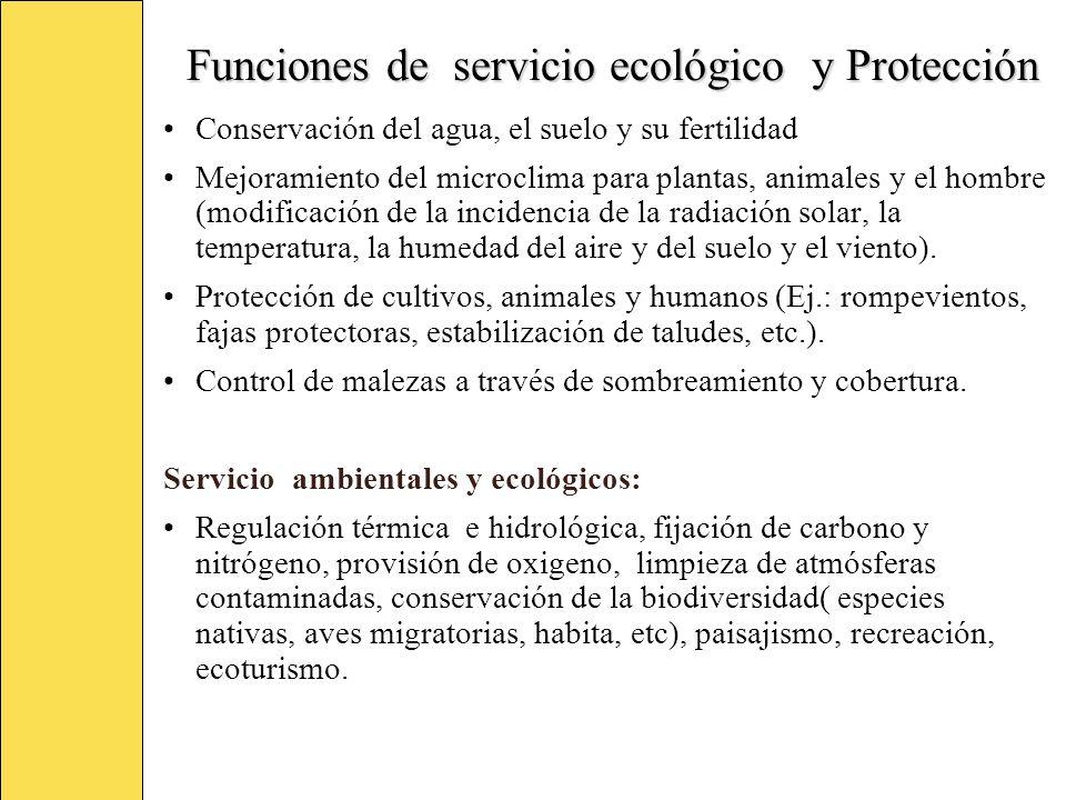 Funciones de servicio ecológico y Protección