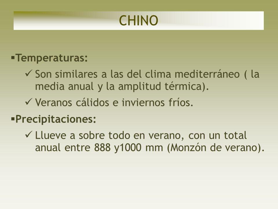 CHINOTemperaturas: Son similares a las del clima mediterráneo ( la media anual y la amplitud térmica).