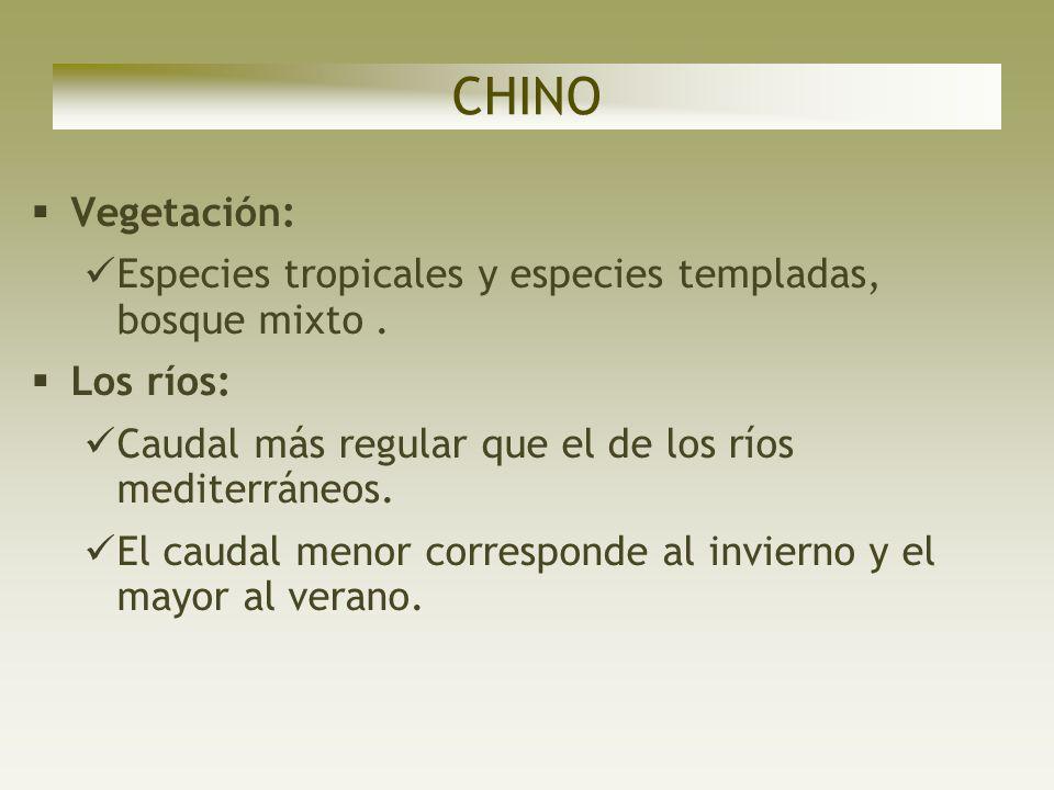 CHINOVegetación: Especies tropicales y especies templadas, bosque mixto . Los ríos: Caudal más regular que el de los ríos mediterráneos.