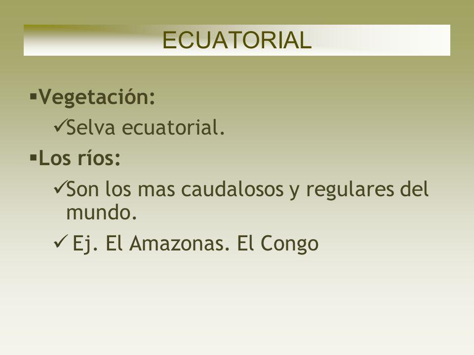 ECUATORIAL Vegetación: Selva ecuatorial. Los ríos: