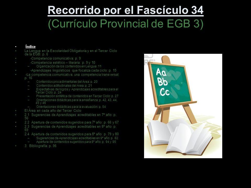 Recorrido por el Fascículo 34 (Currículo Provincial de EGB 3)