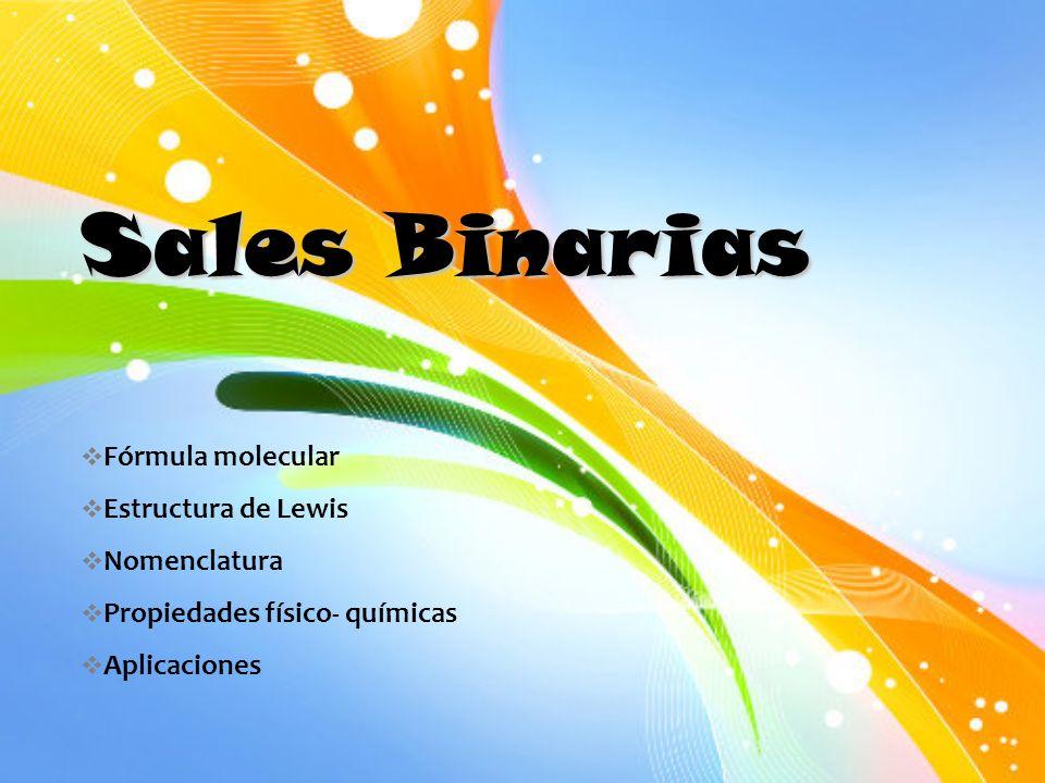 Sales Binarias Fórmula Molecular Estructura De Lewis Nomenclatura