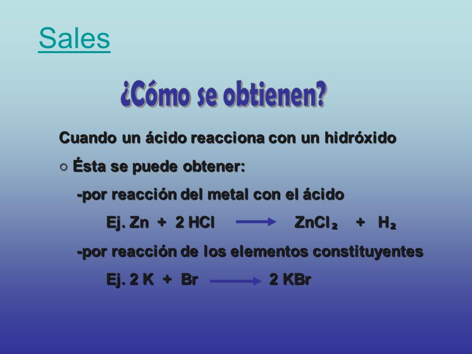 Sales ¿Cómo se obtienen Cuando un ácido reacciona con un hidróxido