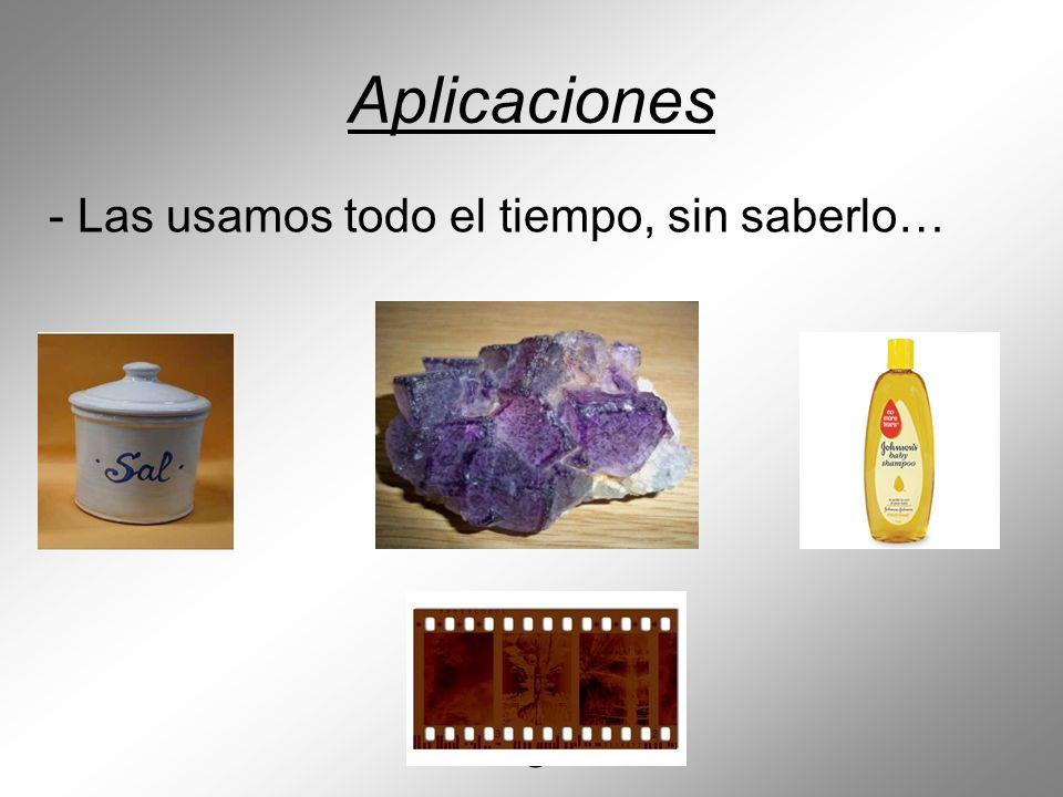 CaF Aplicaciones NaCl SeS₂ AgBr o AgCl