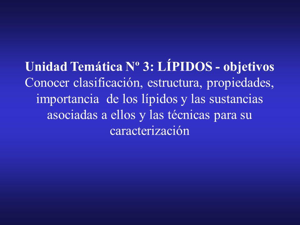 Unidad Temática Nº 3: LÍPIDOS - objetivos