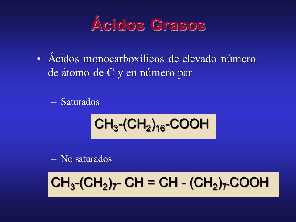 Ácidos Grasos CH3-(CH2)16-COOH CH3-(CH2)7- CH = CH - (CH2)7-COOH