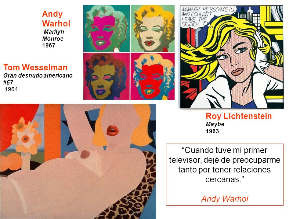 POP ART Andy Warhol Tom Wesselman Roy Lichtenstein
