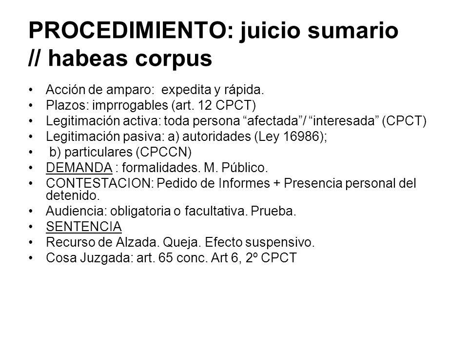 PROCEDIMIENTO: juicio sumario // habeas corpus