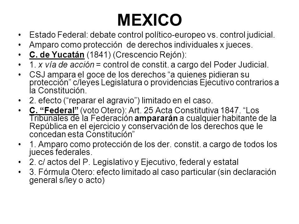 MEXICO Estado Federal: debate control político-europeo vs. control judicial. Amparo como protección de derechos individuales x jueces.