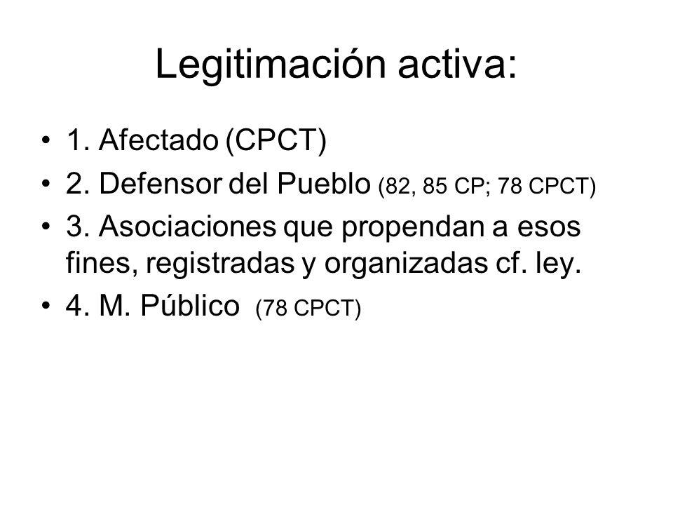Legitimación activa: 1. Afectado (CPCT)