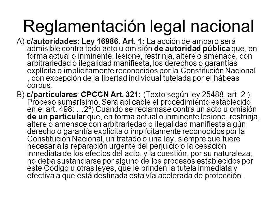 Reglamentación legal nacional