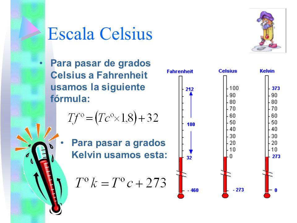 Escala CelsiusPara pasar de grados Celsius a Fahrenheit usamos la siguiente fórmula: Para pasar a grados Kelvin usamos esta: