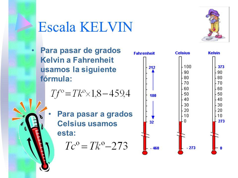Escala KELVINPara pasar de grados Kelvin a Fahrenheit usamos la siguiente fórmula: Para pasar a grados Celsius usamos esta: