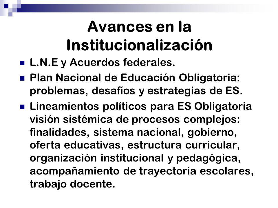 Avances en la Institucionalización