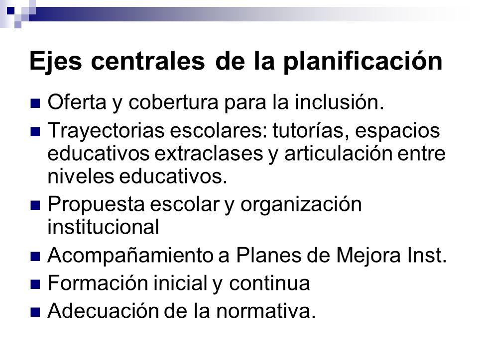 Ejes centrales de la planificación