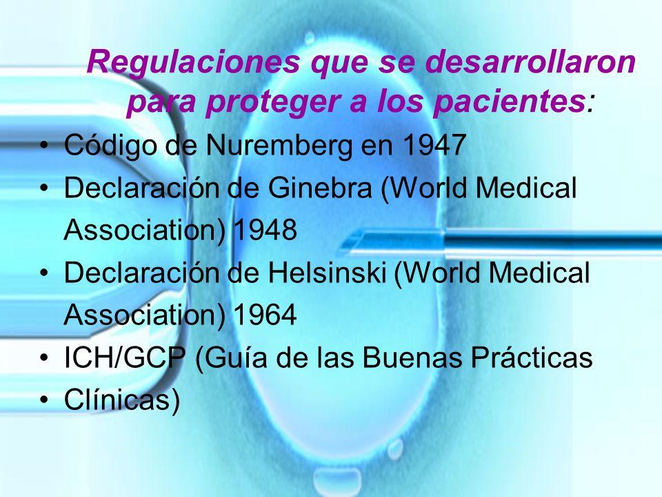 Regulaciones que se desarrollaron para proteger a los pacientes: