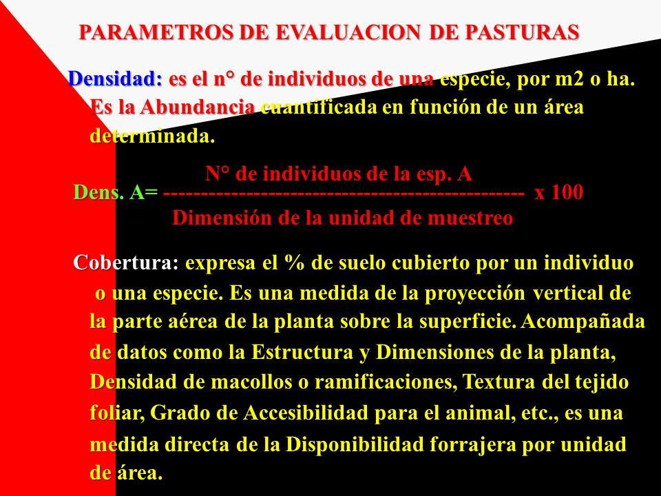 PARAMETROS DE EVALUACION DE PASTURAS
