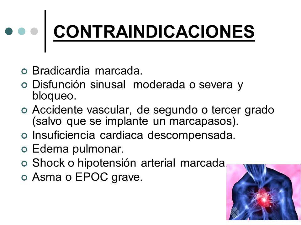CONTRAINDICACIONES Bradicardia marcada.