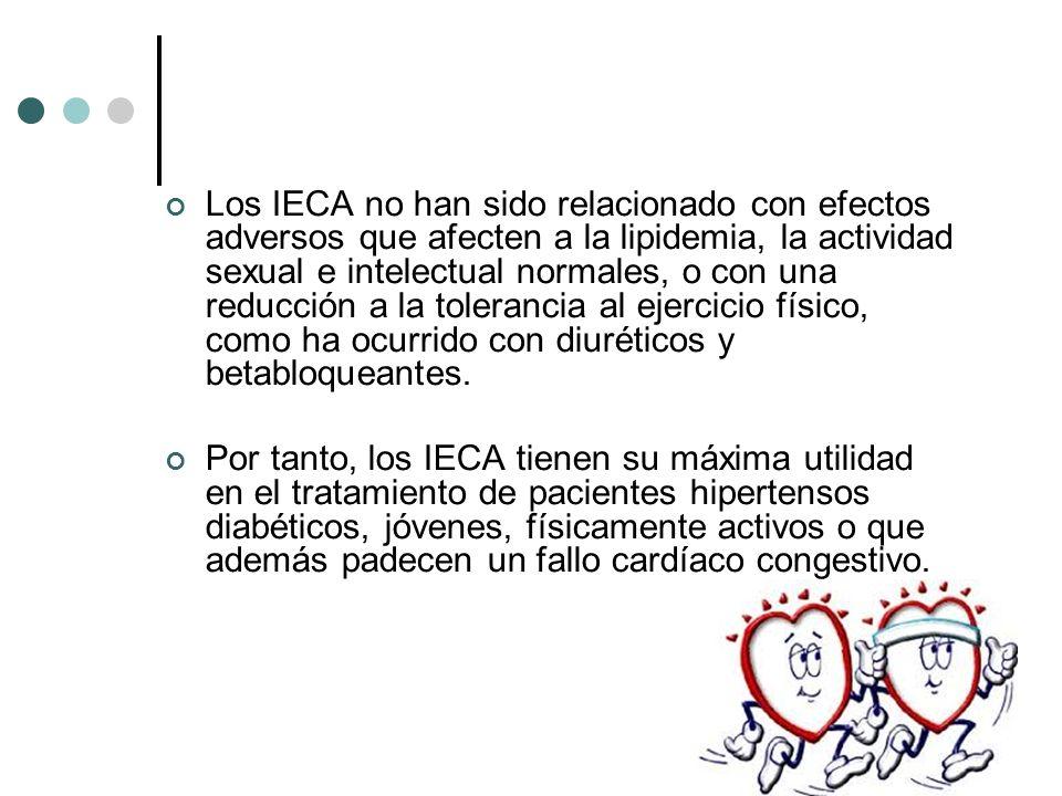 Los IECA no han sido relacionado con efectos adversos que afecten a la lipidemia, la actividad sexual e intelectual normales, o con una reducción a la tolerancia al ejercicio físico, como ha ocurrido con diuréticos y betabloqueantes.