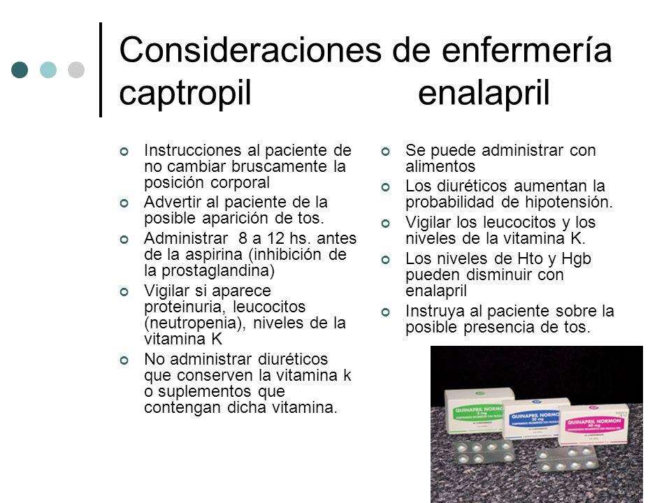 Consideraciones de enfermería captropil enalapril