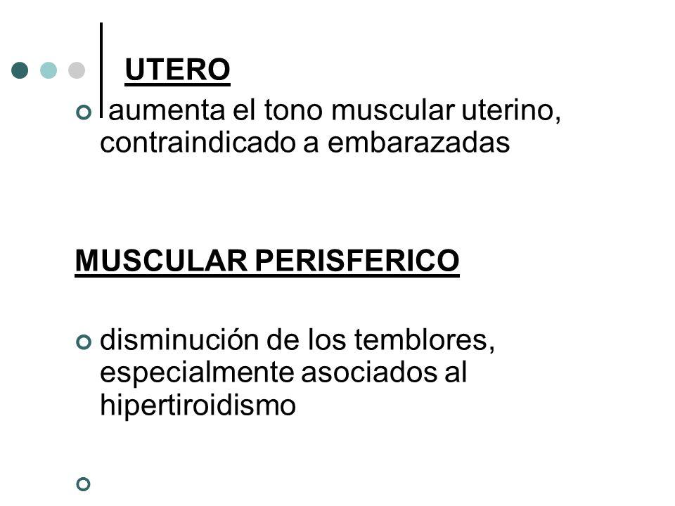 UTERO aumenta el tono muscular uterino, contraindicado a embarazadas. MUSCULAR PERISFERICO.