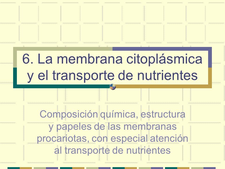 6. La membrana citoplásmica y el transporte de nutrientes