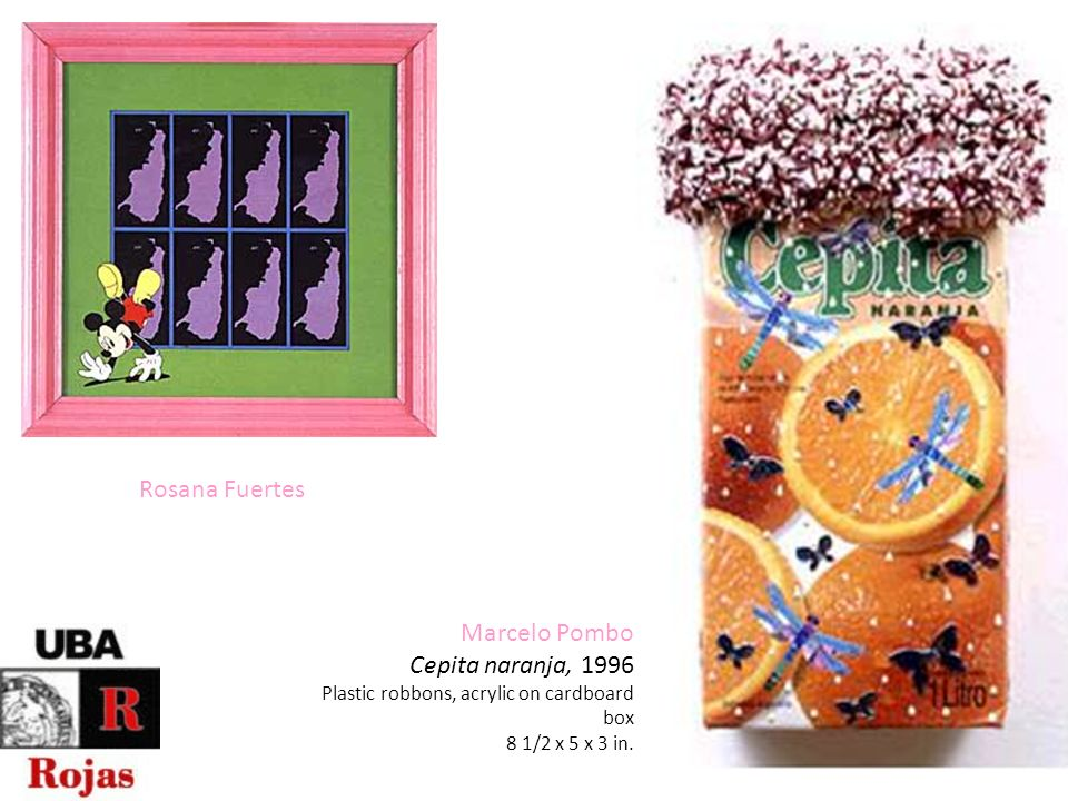 Rosana Fuertes Marcelo Pombo Cepita naranja, 1996 Plastic robbons, acrylic on cardboard box 8 1/2 x 5 x 3 in.