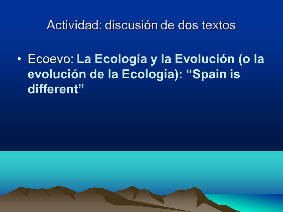 Actividad: discusión de dos textos