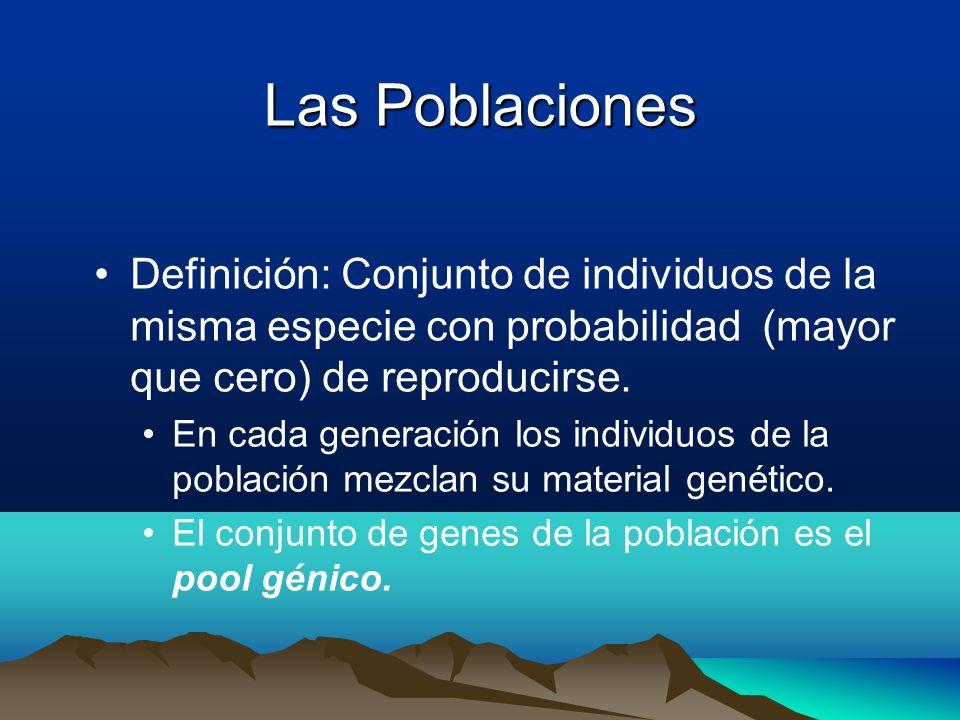 Las PoblacionesDefinición: Conjunto de individuos de la misma especie con probabilidad (mayor que cero) de reproducirse.