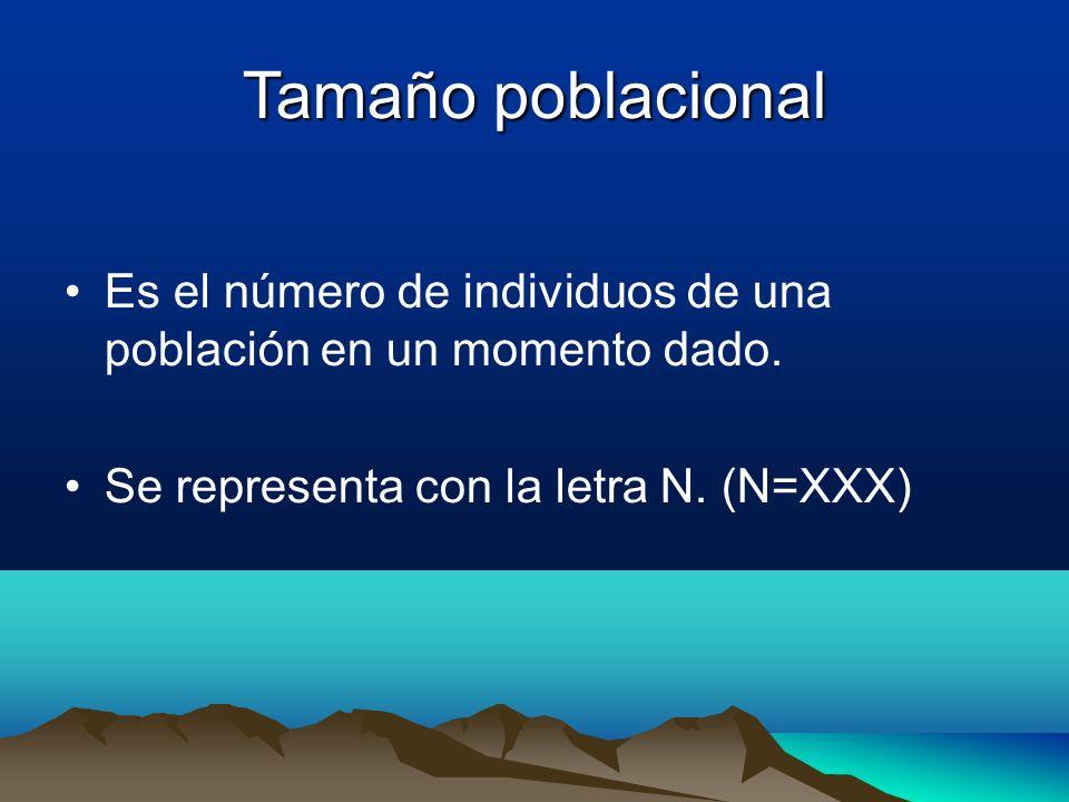 Tamaño poblacional Es el número de individuos de una población en un momento dado.