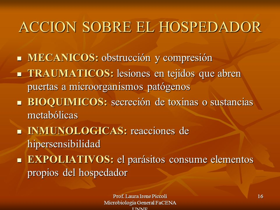 ACCION SOBRE EL HOSPEDADOR