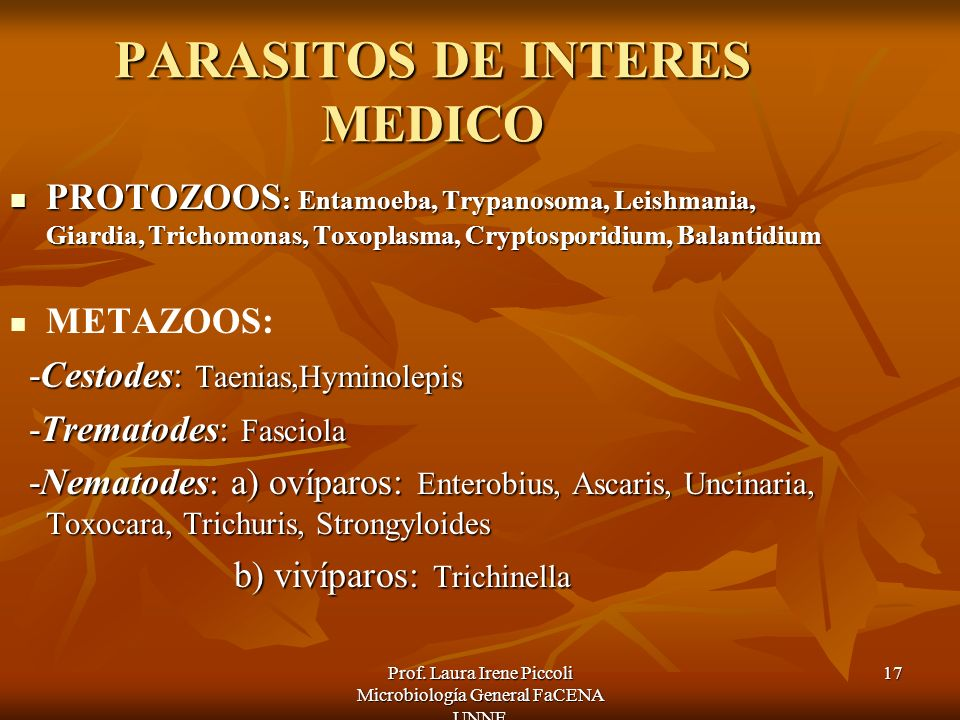PARASITOS DE INTERES MEDICO