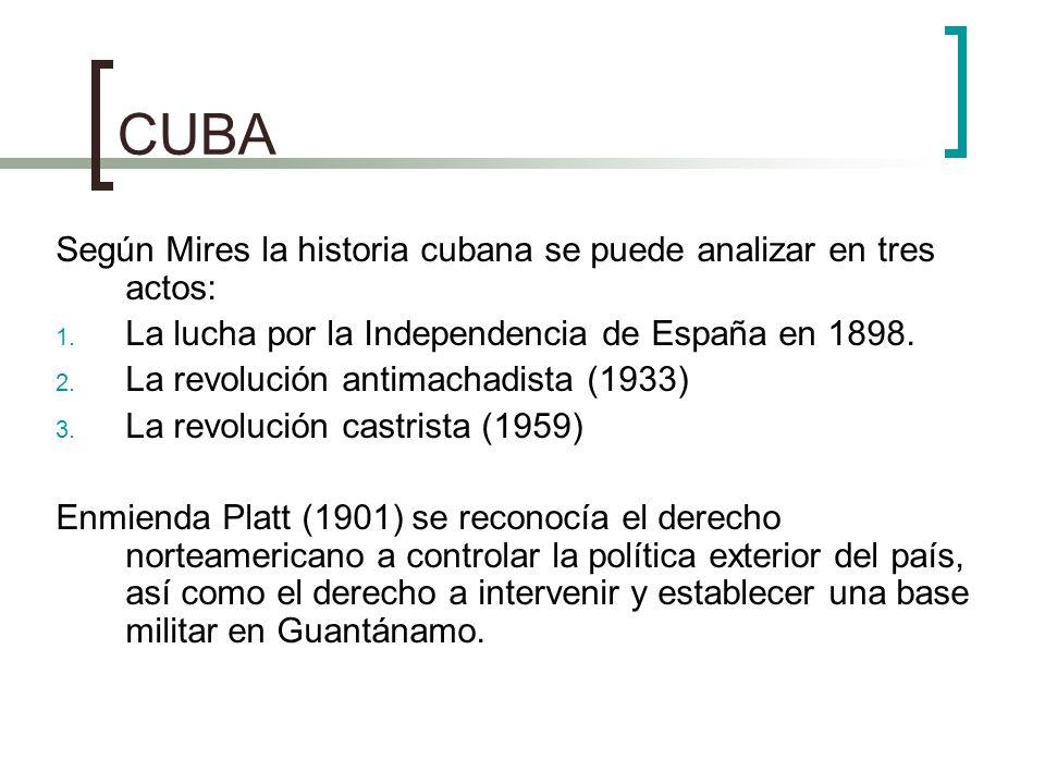 CUBA Según Mires la historia cubana se puede analizar en tres actos: