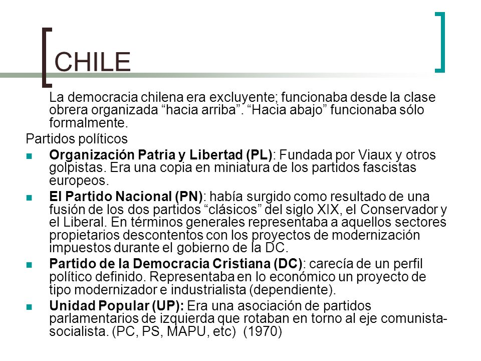 CHILE Partidos políticos