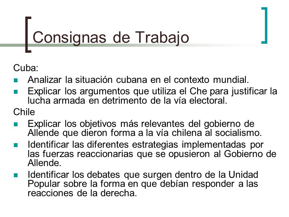 Consignas de Trabajo Cuba: