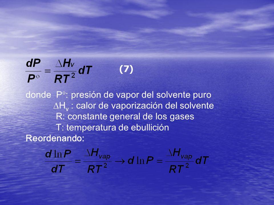 (7) donde P°: presión de vapor del solvente puro. Hv : calor de vaporización del solvente. R: constante general de los gases.