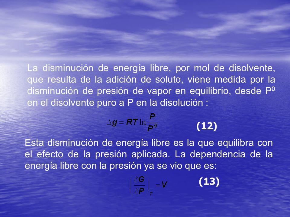 La disminución de energía libre, por mol de disolvente, que resulta de la adición de soluto, viene medida por la disminución de presión de vapor en equilibrio, desde P0 en el disolvente puro a P en la disolución :