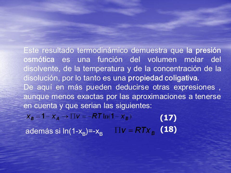 Este resultado termodinámico demuestra que la presión osmótica es una función del volumen molar del disolvente, de la temperatura y de la concentración de la disolución, por lo tanto es una propiedad coligativa.